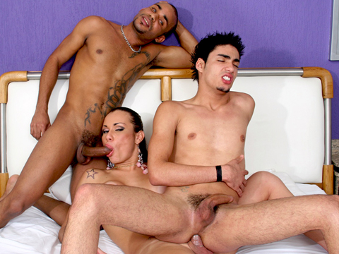 Can this shemale keep both these massive cocks satisfied? She's got her hands – and mouth – full taking care of her boy toys.